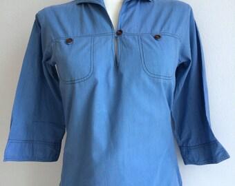 Women's light blue sailor shirt with 3/4 length sleeves