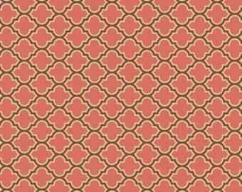 SALE! Joel Dewberry, Cotton Fabric, True Colors, Lodge Lattice in Salmon, One Yard