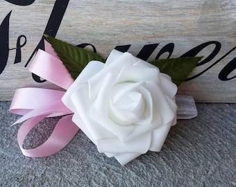 Pink Wedding corsage with white rose, wedding corsage, white wedding corsage, affordable wedding corsage, pink wedding corsage, white