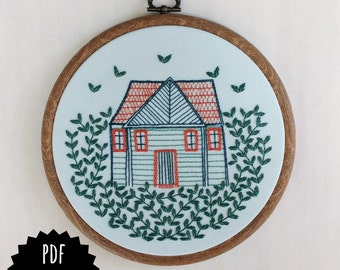 HOME GROWN - pdf embroidery pattern, embroidery hoop art, cabin in the woods, cozy cottage, forest home, house and vines, tiny house design