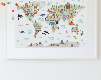 Animal world map print kids world map poster nursery world nursery printable animal world map kids world map poster nursery world map baby room map gumiabroncs
