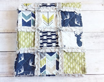 Navy and Olive Woodland Quilt