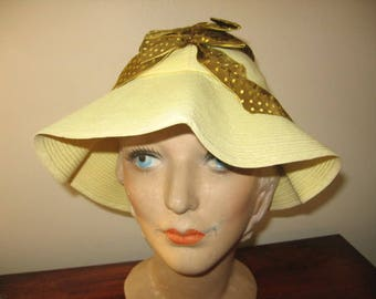 1930's-40's Yellow Floppy Brim Sun Hat!