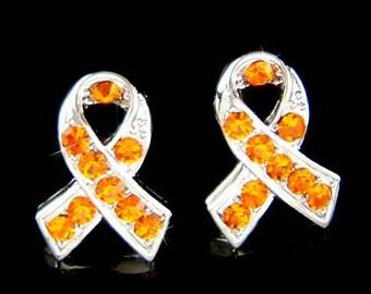 Swarovski Crystal Orange Leukemia Kidney Cancer Multiple Sclerosis Awareness Ribbon Stud Post Earrings Jewelry Christmas Best Friend Gift