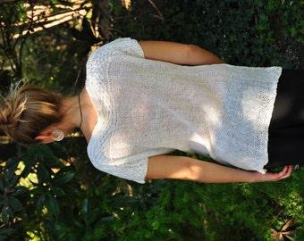 Linen, Linen shirt, hand knitted.