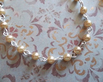 Bead Chain - Gold 4mm Glass Pearls on Silver Beaded Chain - Qty 18 inch strand