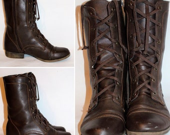 Brown Leather Boots Lace Up Retro Style, Size 7 M (24.5)