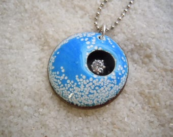 Speckled Blue and White Enamel Pendant Necklace  Artisan Jewelry