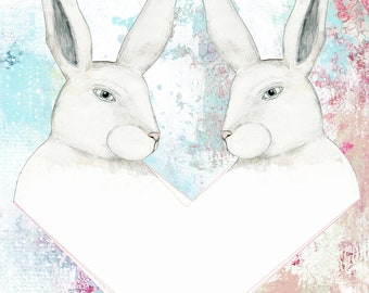 Bunny Instant Download - Feminine Wall Art , Digital Download, Pink Office Art, Printable Women Gift for the Rabbit Lover