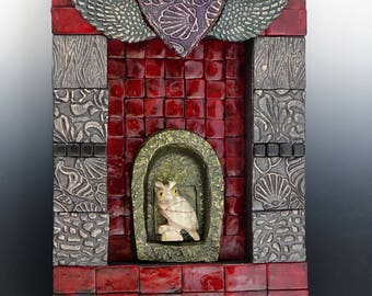 Mosaic Owl Wall Hanging - Handmade Polymer Clay Tiles with Carved Stone Owl - One of a kind - Karen J Lauseng