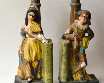 Italian  Bookends, Candleholders, Vintage Masquerade, Made in Italy