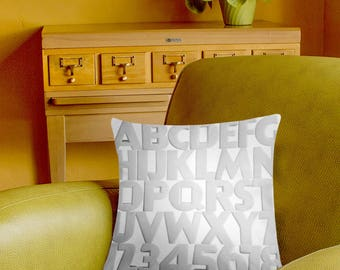 Vintage Art Deco Alphabet Pillow Cover - retro typography - white alphabet pillow case - 2-sided printing