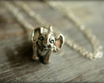 Baby Elephant Necklace in Sterling Silver