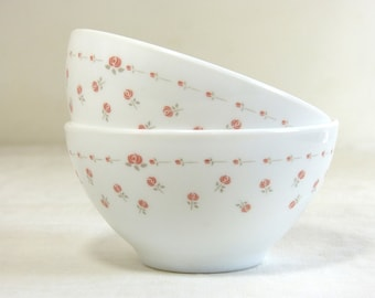 Set of 2 shabby pastel pink rose flower ARCOPAL milkglass cafe au lait bowls - French early 80s vintage