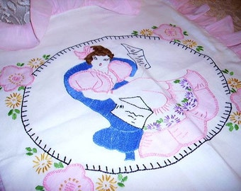 Best Vintage Southern Belle Embroidered Ruffled Pillow Case Cover So Shabby Cottage Chic