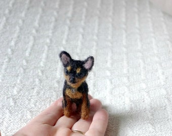Pet gift  Your dog as a cute Pin / Custom  Needle Felted Miniature Pet Portrait / Sculpture Brooch / example  Chihuahua