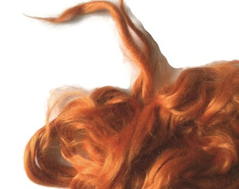 Ramie Roving : Ramie fibers in tones of Pumpkin Orange