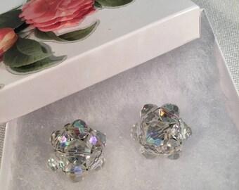 EARRINGS 1950s Vintage Jewelry  Aurora Borealis CRYSTAL Clip On
