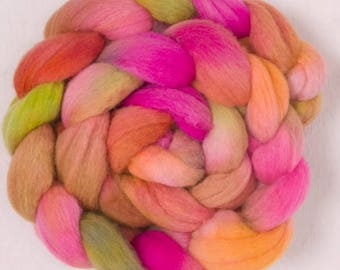 Hand dyed wool top, Polwarth, Handspinning, spindling, Nuno, fiber, fibre, wool sliver, felting materials, felting projects, spinning