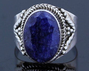 Rough Sapphire Silver Ring // 925 Sterling Silver // Ring Size 6 // Handmade Jewelry