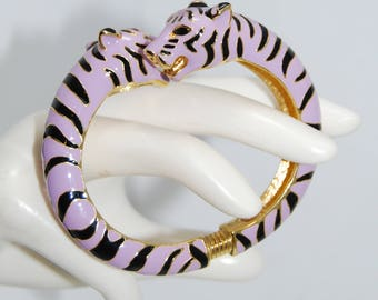 Vintage Kenneth Jay Lane KJL Tiger Clamper Bracelet Lavender Violet Purple