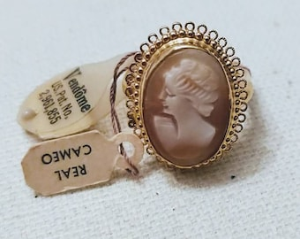 Vendome Cameo Carved Ring new old stock square adjustable shank size 5-6 vintage with original tags