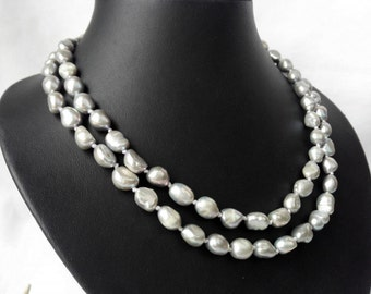 Pearl Necklace - double rows 8-9mm gray baroque pearl necklace