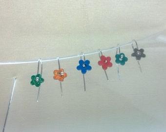 enamel on silver flower earrings