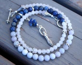 Pregnancy Tracking Necklace - Pick your charm - Milky Way - Lapis lazuli, chalcedony, moonstone, snow quartz