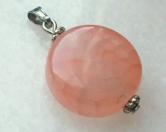 1 Piece cracked stone Fine gem stone natural semi 20mm pink Agate pendant