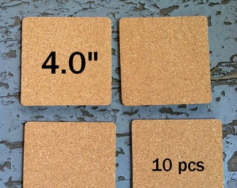 4.0 Inch SQUARE Blank Cork Coasters, 10-pack