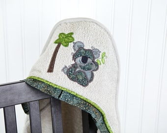 child hooded towel koala applique many colors
