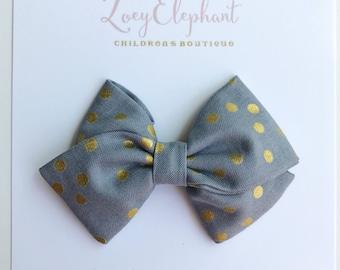 Baby Headband, Grey Polka Dot Fabric Bow, Fabric Bow Hair Clip, Girl Hair Clip, Nylon Headband, Girl Headband, Baby Shower Gift