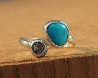 Adjustable Sterling Ring with Natural Turquoise Freeforml Stone and 18k Gold accents size 6, 6.5, 7, 7.5