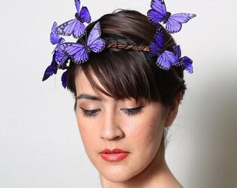 Purple Butterfly Crown - wedding, bride, fantasy, woodland