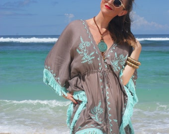 Tassels poncho/Embroidered poncho dress/Beach wear/Beach dress/Bohemian poncho * PONCHO JULIA