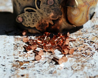 """1/2"""" Flat Head Rivets....Copper  or Brass 30 pieces -Free Shipping"""