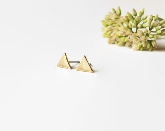 Gold Triangle Earring - Smooth Gold