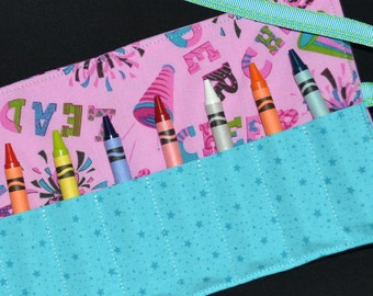 Cheerleader Crayon Roll - Birthday Party Favors - Gift - cheerleader gift - Crayon Holder - Crayons