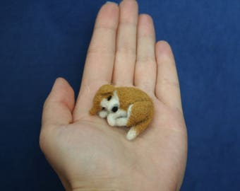 Needle Felted Sleeping Dog.Dollhouse Dog.Miniature Dog.Custom Made Dog.Pet.Felted Animal.Made to order.