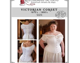 "PDF Corset Pattern, Plus Size 18 34"" Waist, Printable Victorian Sewing Pattern for Civil War, Bustle Era, Romantic, Instructions Included"