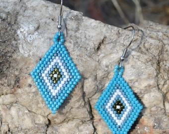 Beaded Earrings for Women - Blue - Beaded Earrings - Surgical Steel