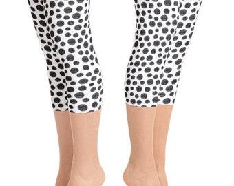 Black & White Polka Dot Capri Leggings | Yoga Leggings | Yoga Pants | Workout Leggings | Women's Leggings | Yogawear | Loopy Jayne