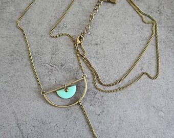 Blue half moon necklace