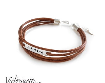 IVF Mama Bracelet, Infertility Jewelry, Leather Wrap Style Bracelet, IVF Jewelry, Faux Wrap Bracelet, Sterling Silver, Mother's Day Gift