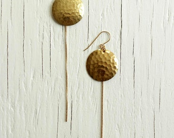 Brass Disc Earrings Chandelier Dangle Style with 14kt Gold Fill Chain Fringe