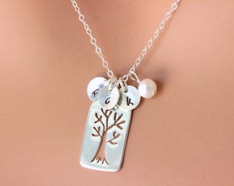 Mother Day Gift from daughter - Family Initial Necklace - Personalized Mothers day gift Family Tree Necklace  Sterling Silver Tree Necklace
