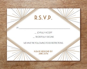 Printable RSVP Card - Response Card Download - Instant Download - RSVP Template - Response Card - Art Deco rsvp - Gatsby rsvp card pdf