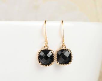 Black Gold Earrings, Black Gold Square Earrings, Black Earrings, Bridesmaid Earrings, Bridesmaid Gift, Wedding Jewelry
