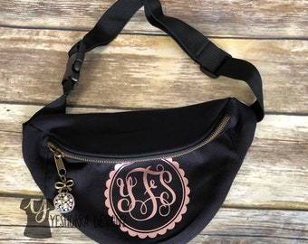Rose Gold Monogram Fanny Pack, Personalized Fanny Pack For Women, More Text Colors To Choose From, Custom Fanny Pack, Unique Fanny Packs